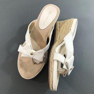 AK Anne Klein White AKPointy Wedge Sandals, 7 M